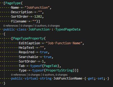 Page type - job function